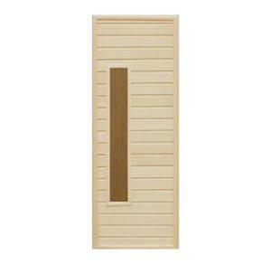 Дверь деревянная со стеклом Прямоугольник для бани и сауны
