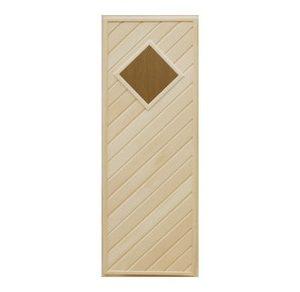 Дверь деревянная со стеклом Ромб для бани и сауны