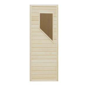 Дверь деревянная со стеклом Трапеция для бани и сауны