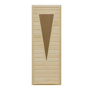 Дверь деревянная со стеклом Треугольника для бани и сауны