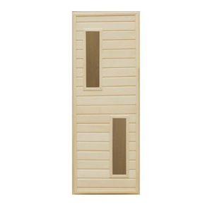 Дверь деревянная со стеклом 2 Прямоугольника для бани и сауны