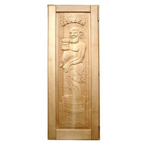 Дверь резная Дед для бани и сауны