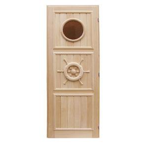 Дверь резная Штурвал для бани и сауны