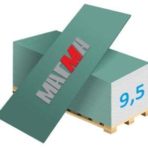 Гипсокартон Магма Влагостойкий ГКЛВ-9.5 2500x1200x9,5мм (3м²)