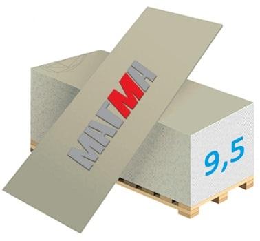 Гипсокартон Магма Стандартный ГКЛ-9.5 2500x1200x9,5мм (3м2)