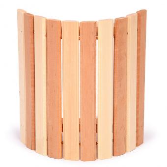 Абажур угловой комбинированный с широкими рейками из ольхи для бани и сауны