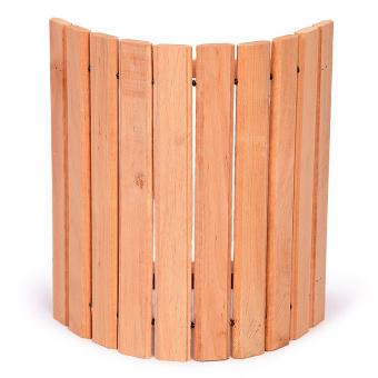 Абажур угловой с широкими рейками из ольхи для бани и сауны