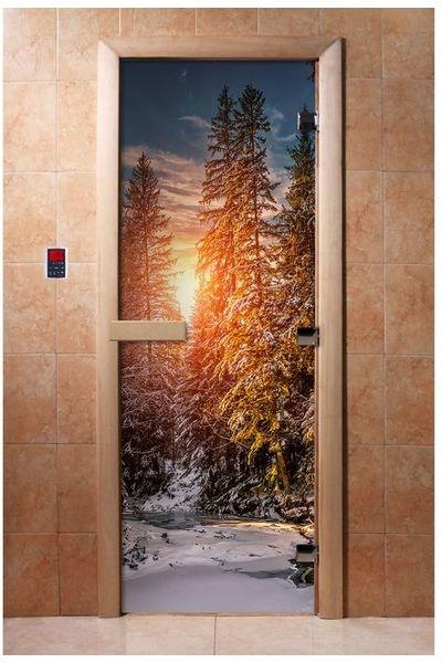 Дверь для сауны Maestro Woods Зимний закат (фотопечать)