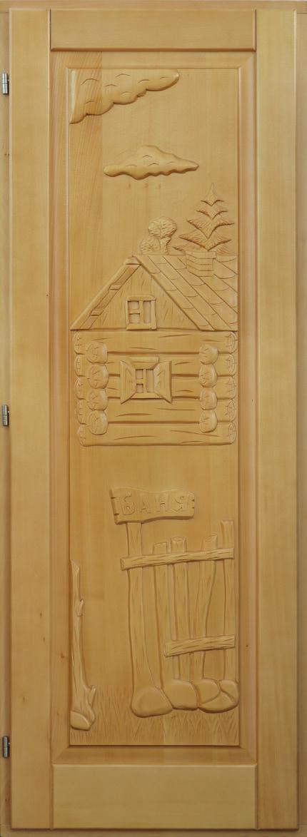 Дверь резная «Домик-банька»