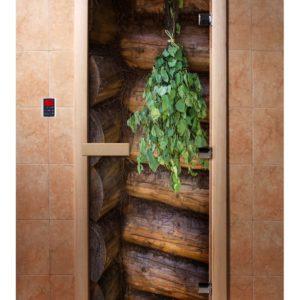Дверь для сауны Maestro Woods Веник (фотопечать)