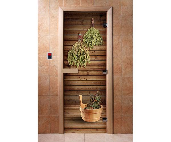 Дверь для сауны Maestro Woods Веники (фотопечать)